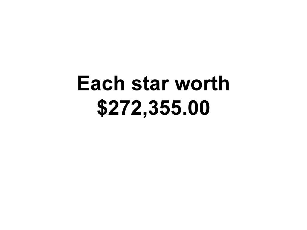 Each star worth $272,355.00