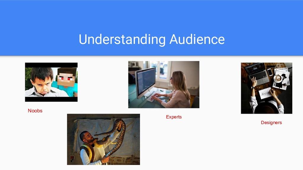 Understanding Audience Noobs Experts Designers