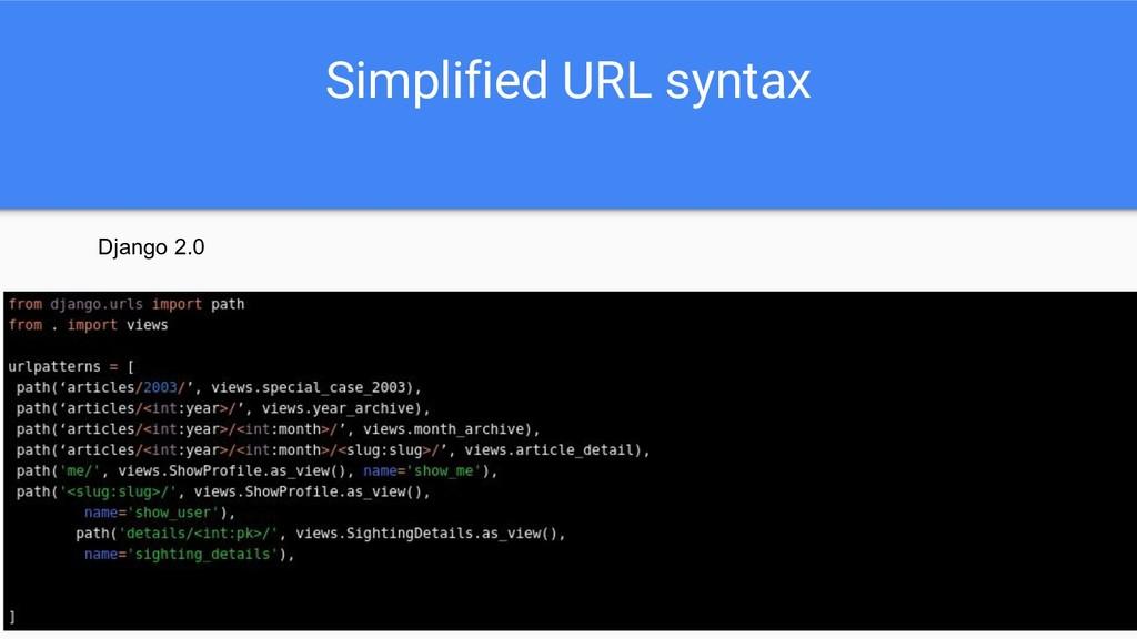 Simplified URL syntax Django 2.0