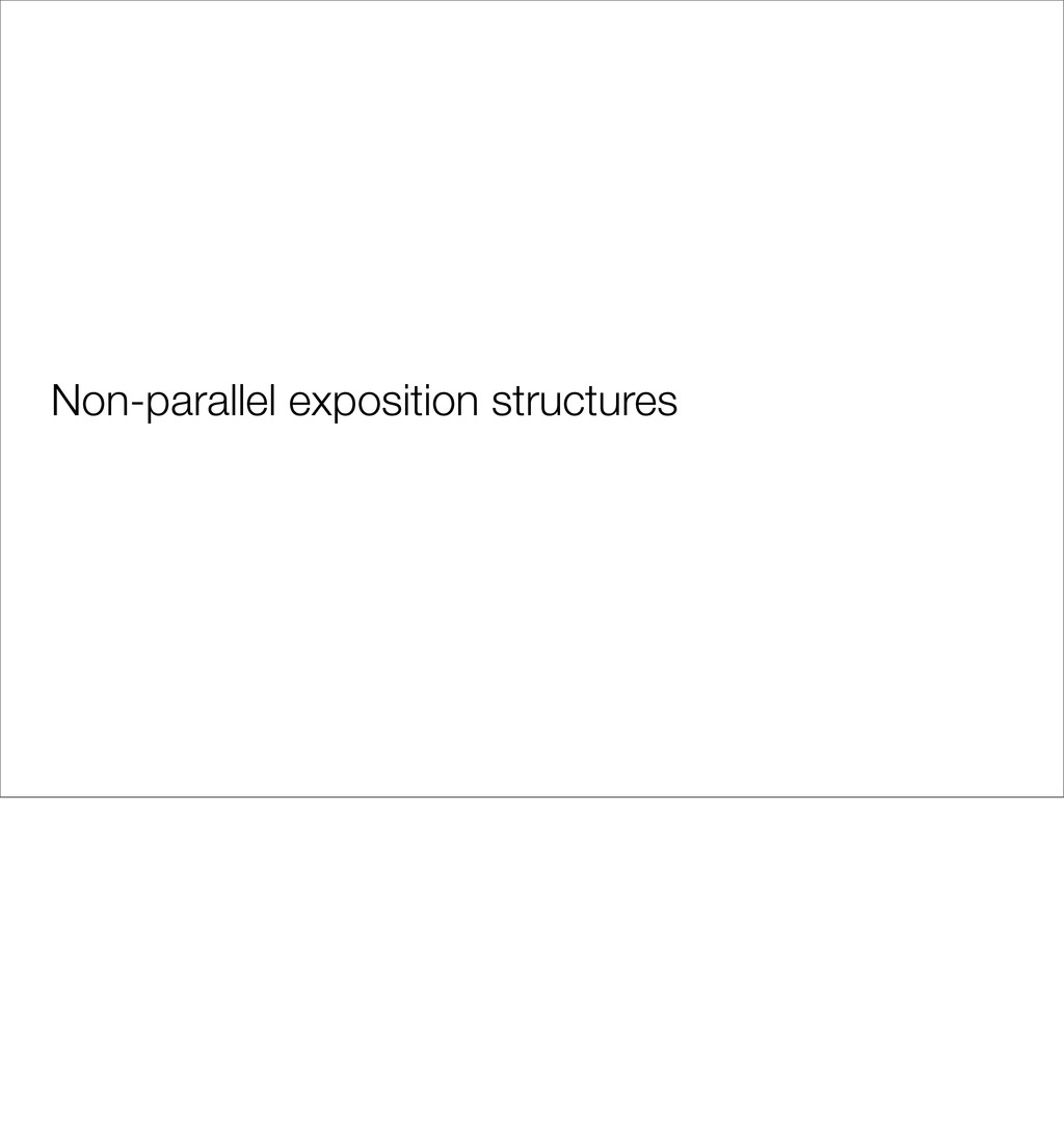 Non-parallel exposition structures