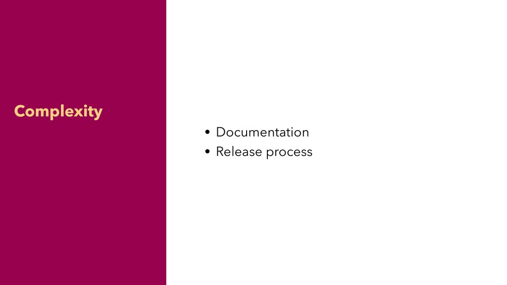 Complexity • Documentation • Release process