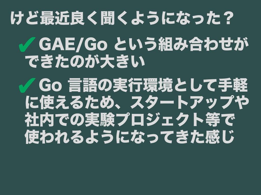 ✔GAE/Go と前までは いう組み合わせがみ合わせが提供している  できたのバージョンアッが...
