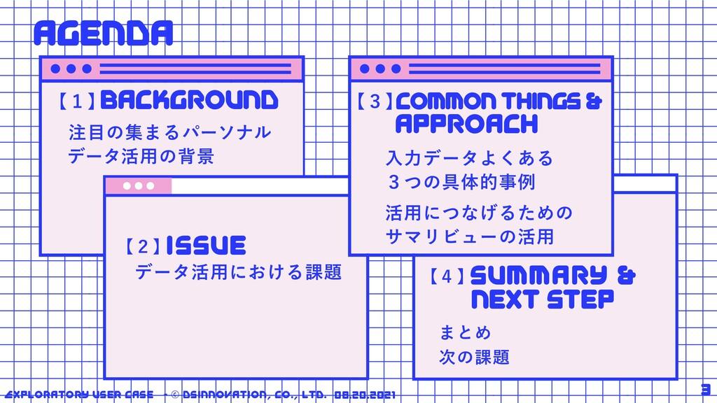 3 【4】 まとめ 次の課題 Exploratory User Case - © DSInno...