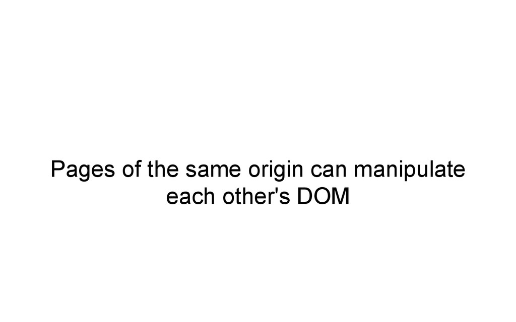 Pages of the same origin can manipulate each ot...