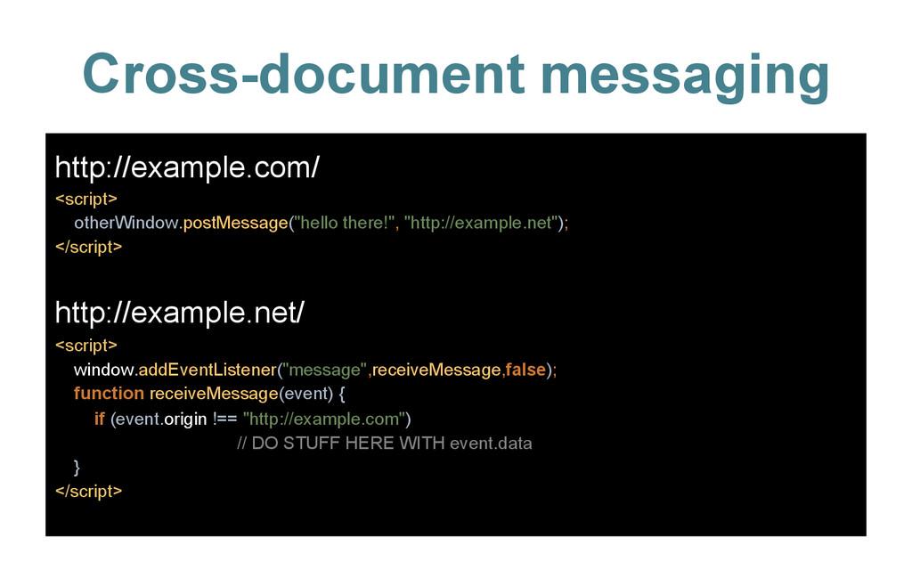 Cross-document messaging http://www.example.com...