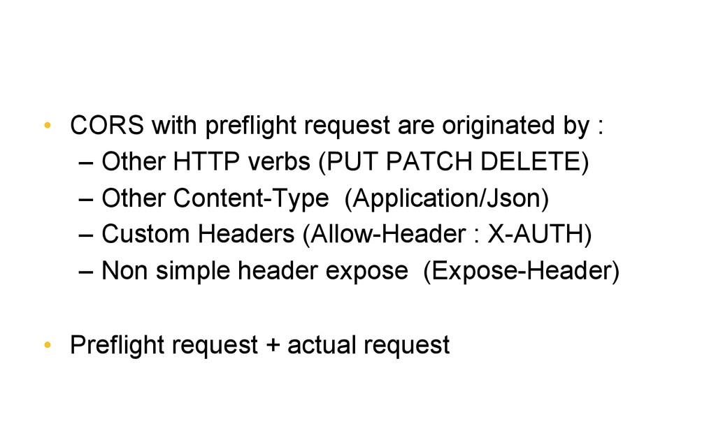 • CORS with preflight request are originated b...