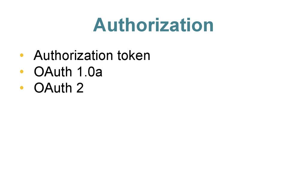 Authorization • Authorization token • OAuth 1...