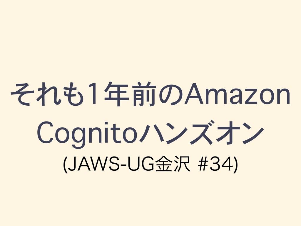 """それも1年前のAmazon Cognitoハンズオン +""""846(ۚ"""