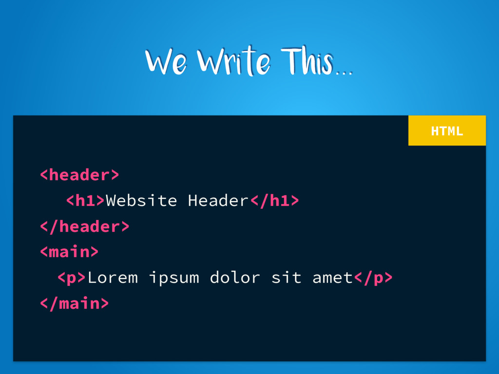 HTML <header> <h1>Website Header</h1> </header>...