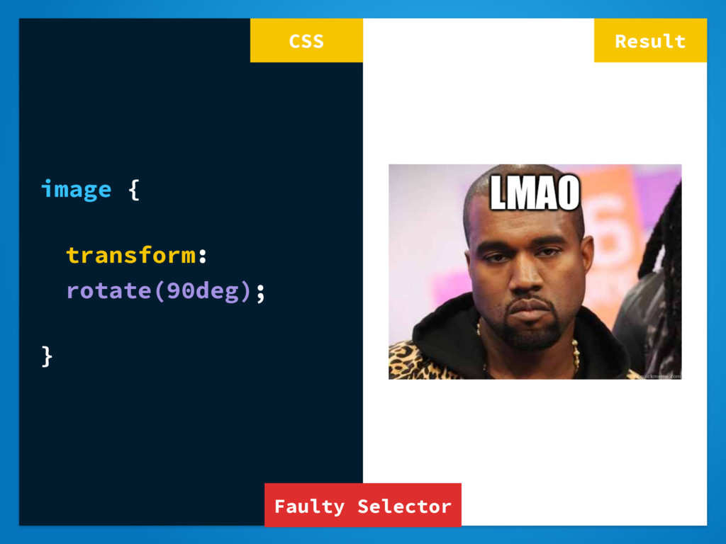 Result image { transform: rotate(90deg); } CSS ...