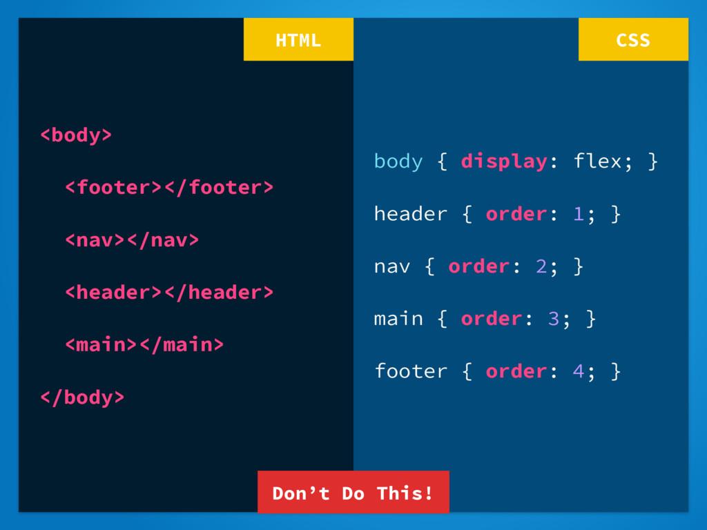 body { display: flex; } header { order: 1; } na...