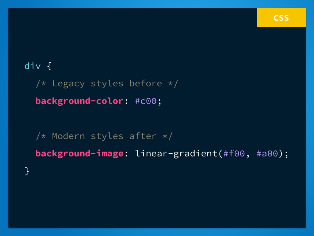 CSS div { /* Legacy styles before */ background...