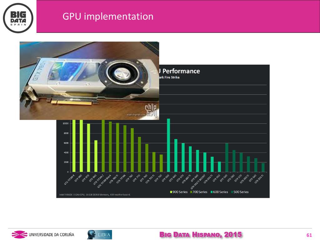 BIG DATA HISPANO, 2015 61 GPU implementation
