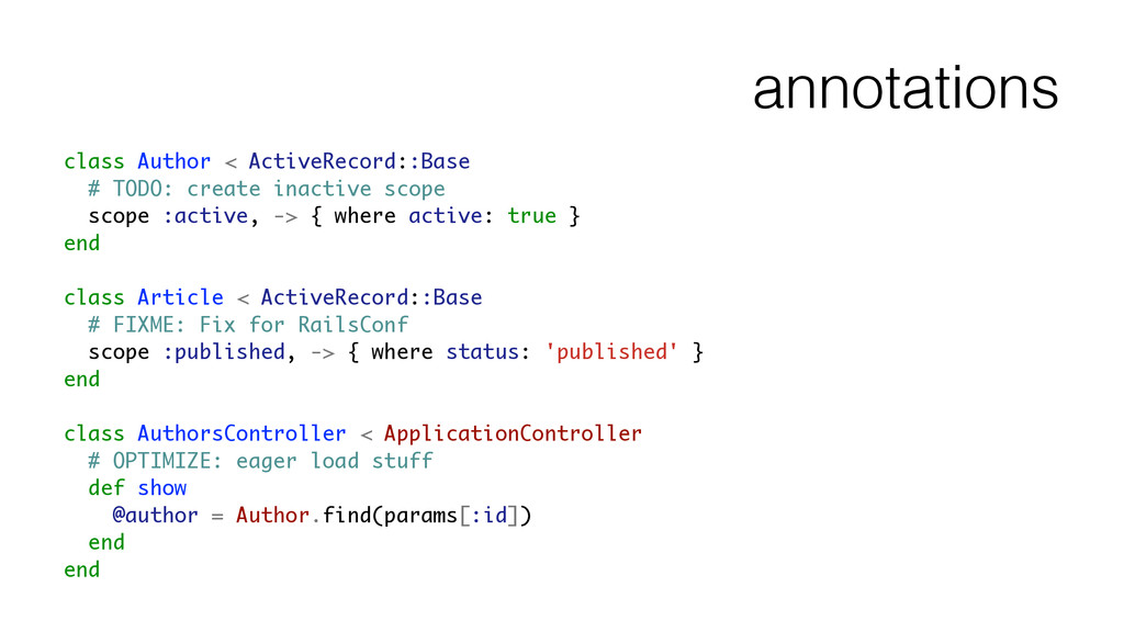 annotations class Author < ActiveRecord::Base #...