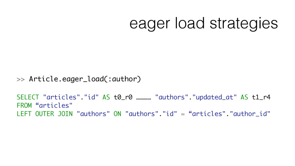 eager load strategies >> Article.eager_load(:au...