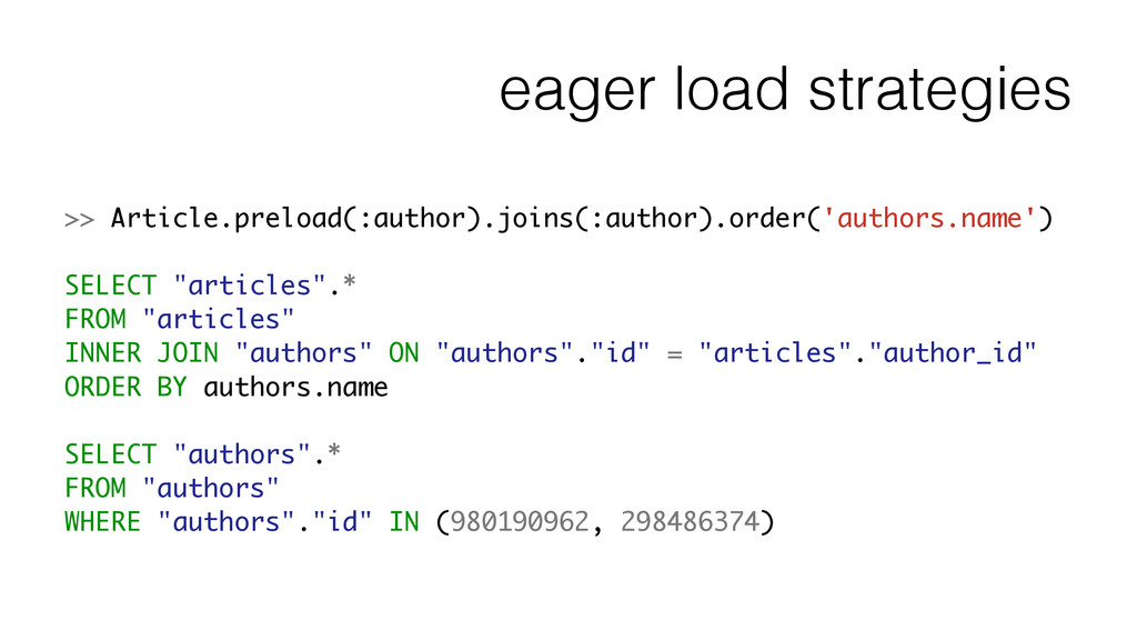 eager load strategies >> Article.preload(:autho...