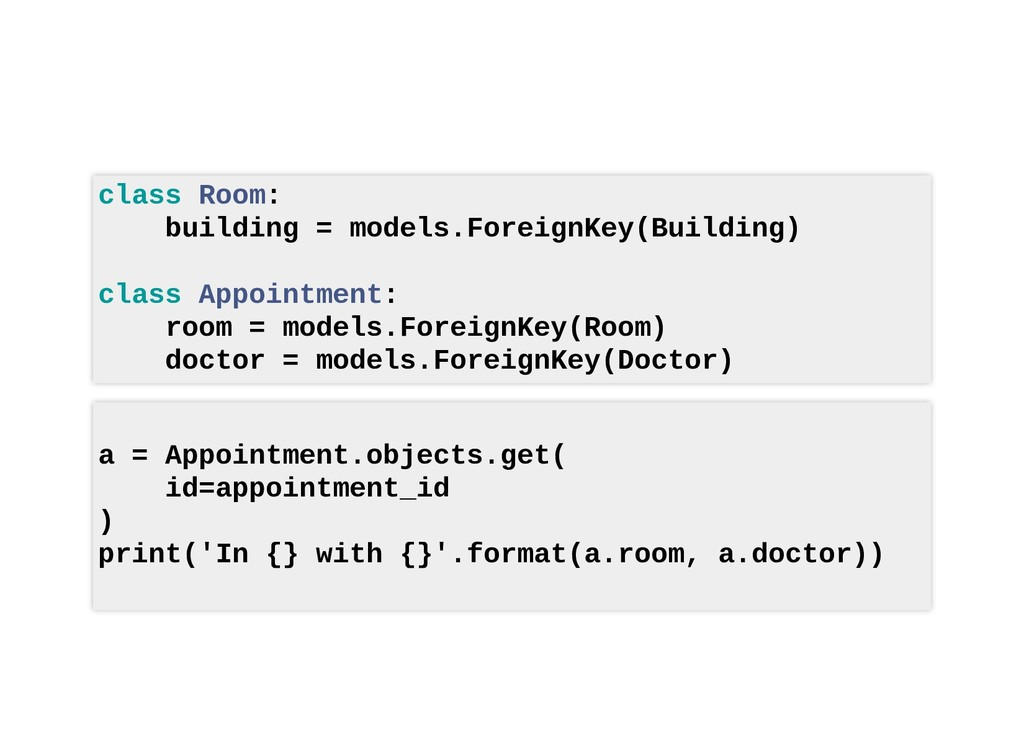 class Room: building = models.ForeignKey(Buildi...