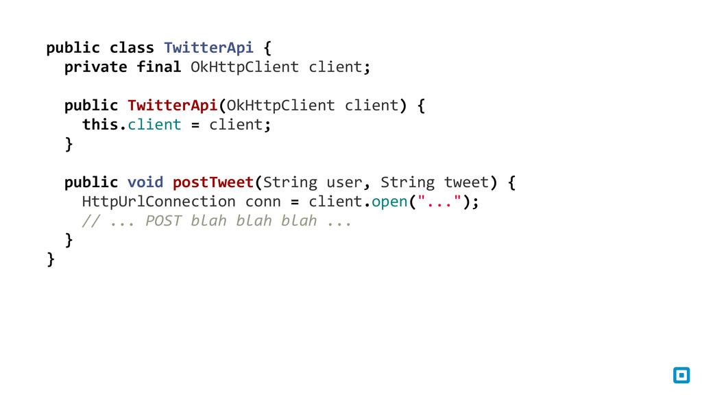 public class TwitterApi {    ...
