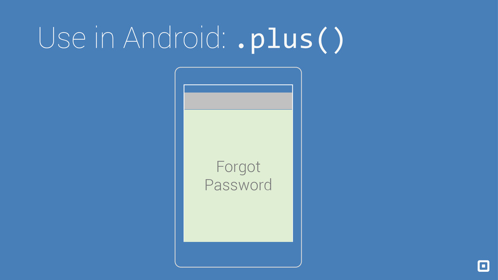 Use in Android: .plus() Forgot Password