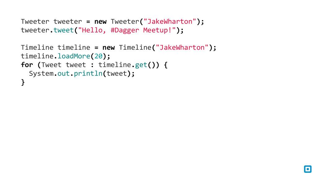 """Tweeter tweeter = new Tweeter(""""Jake..."""