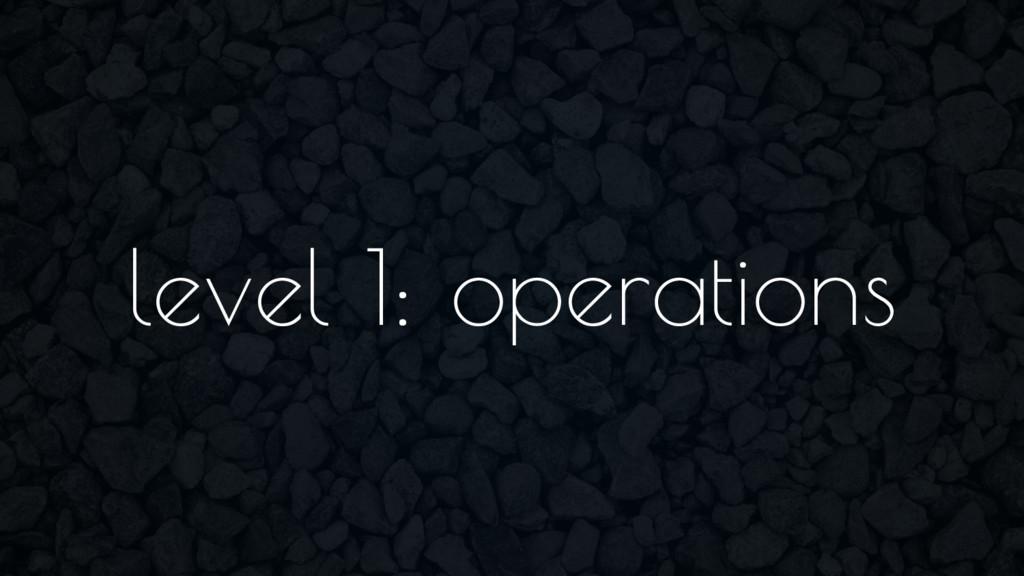 level 1: operations