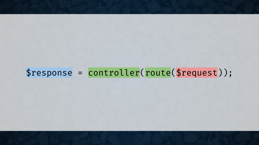 $response = controller(route($request));
