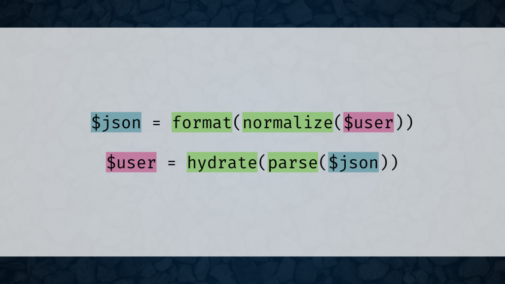 $json = format(normalize($user)) $user = hydrat...