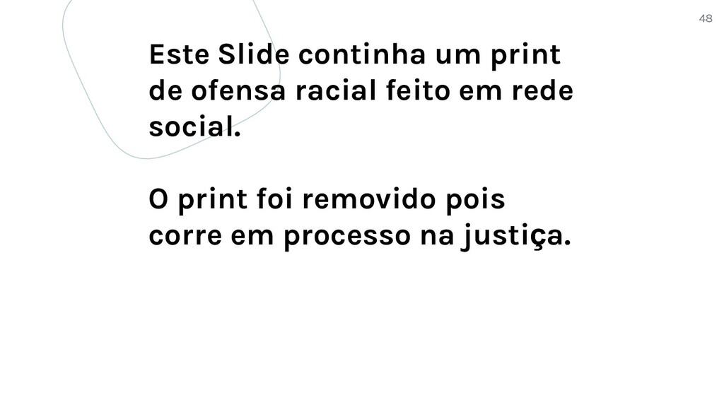 48 Este Slide continha um print de ofensa racia...