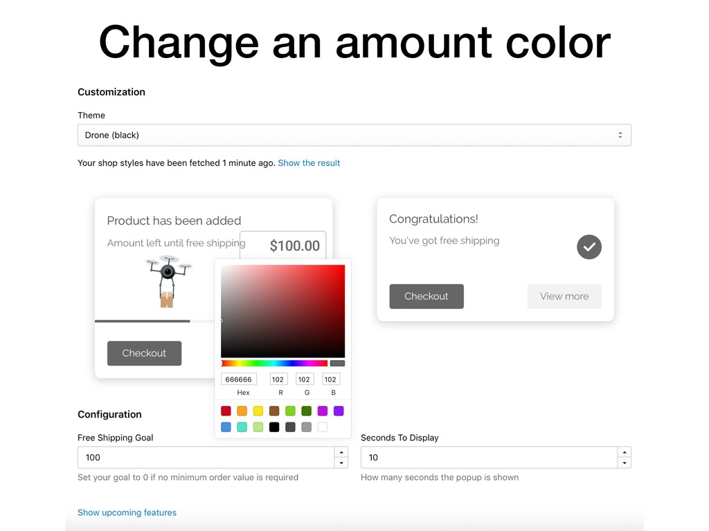 Change an amount color