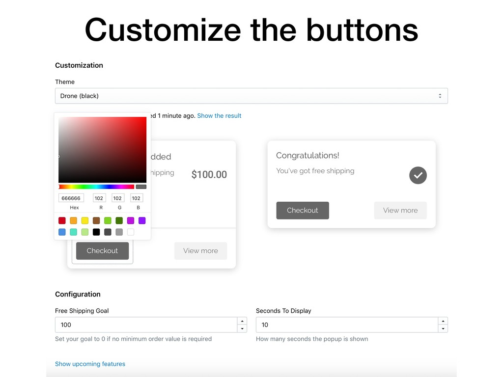 Customize the buttons
