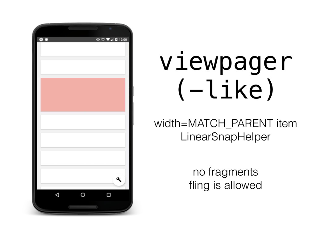 viewpager (-like) width=MATCH_PARENT item Linea...