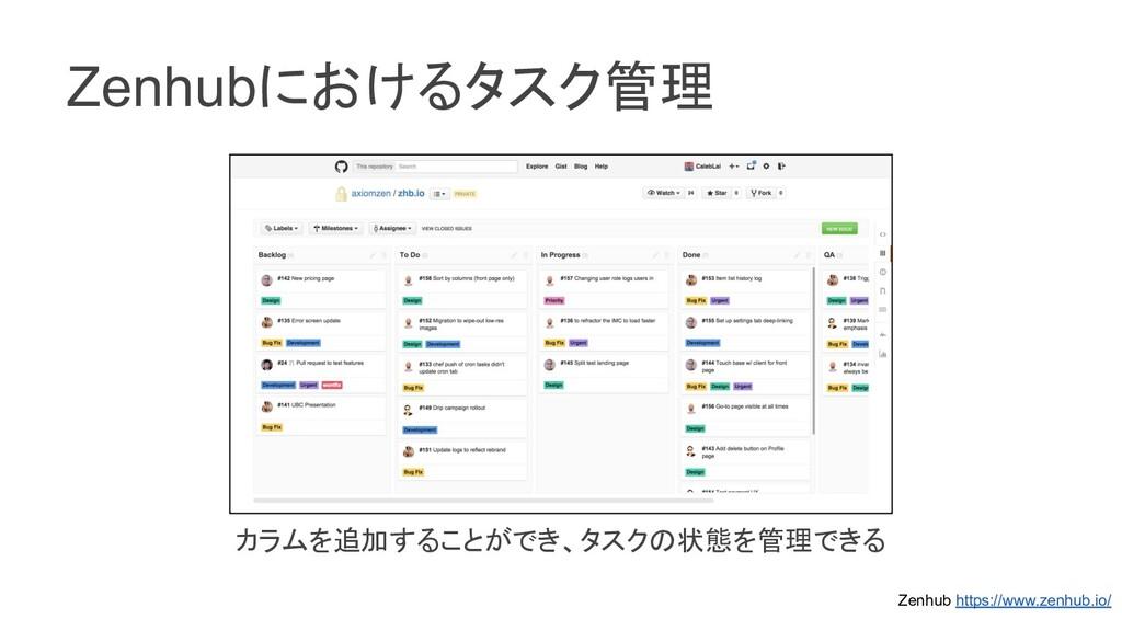 Zenhubにおけるタスク管理 カラムを追加することができ、タスクの状態を管理できる Zenh...