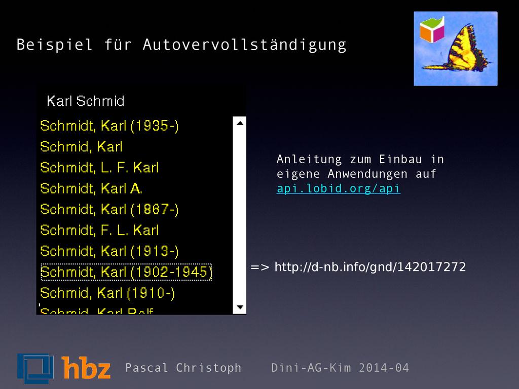 Beispiel für Autovervollständigung Pascal Chris...