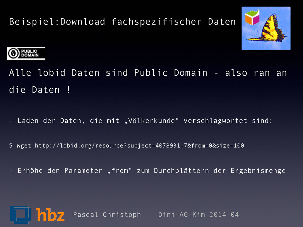 Beispiel:Download fachspezifischer Daten Alle l...
