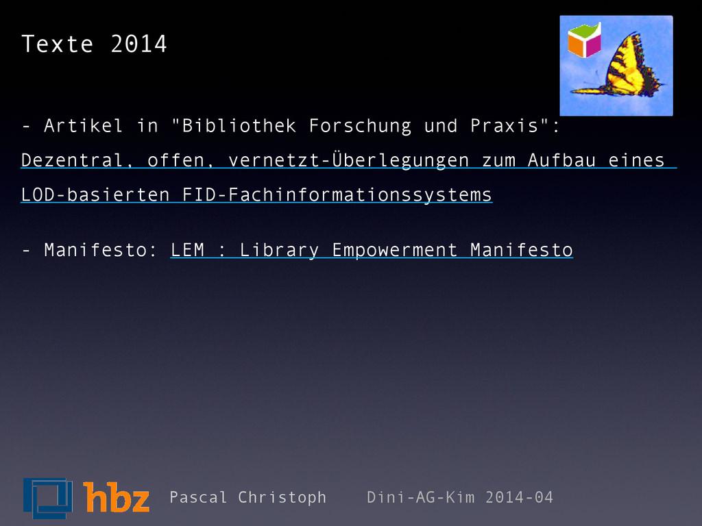 "Texte 2014 - Artikel in ""Bibliothek Forschung u..."