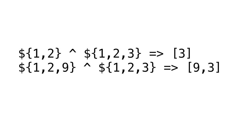 ${1,2} ^ ${1,2,3} => [3] ${1,2,9} ^ ${1,2,3} =>...