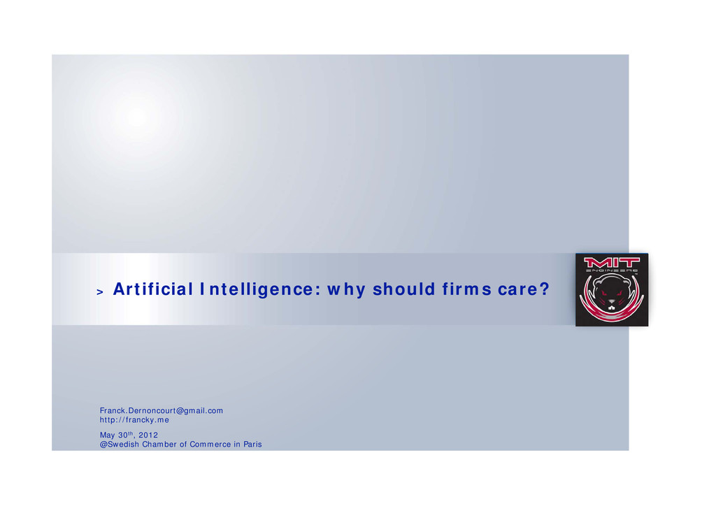 > Artificial Intelligence: why should firms car...