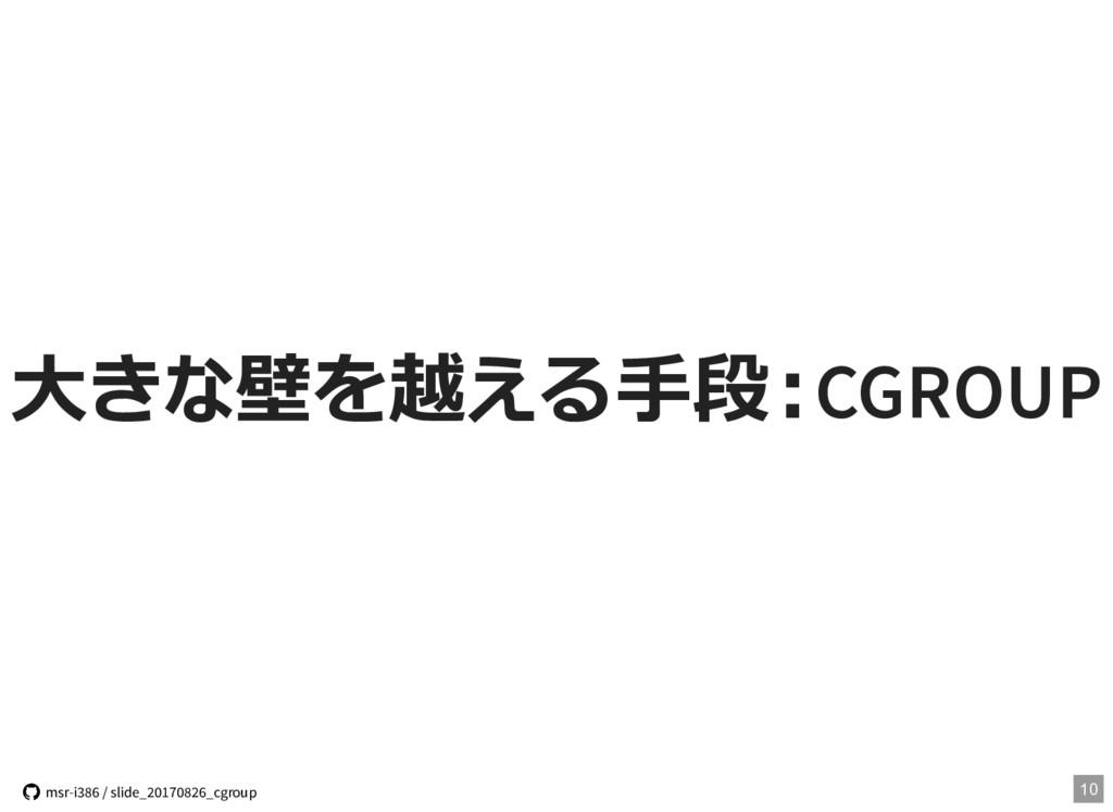 ⼤きな壁を越える⼿段:CGROUP 10  msr-i386 / slide_2017082...