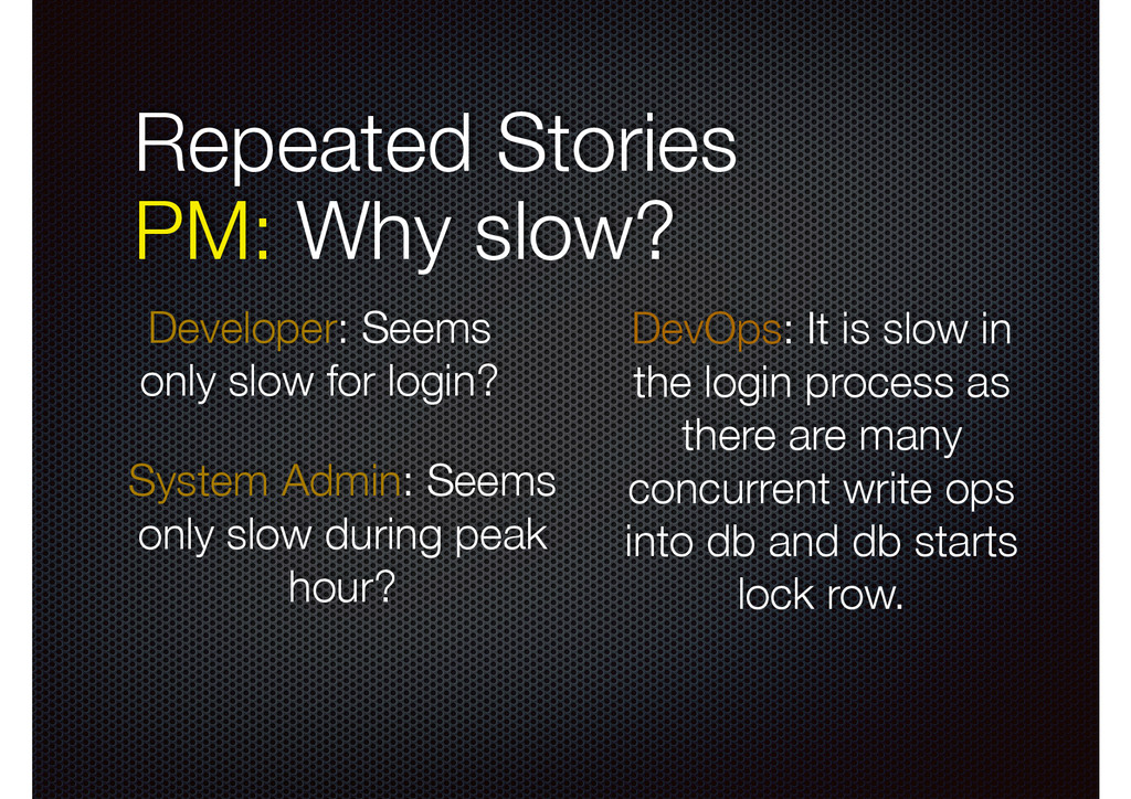 Repeated Stories PM: Why slow? System Admin: S...