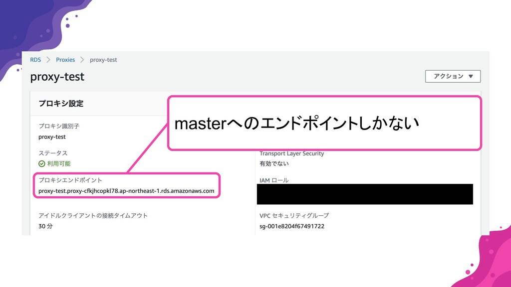 ここに接続エンドポイントのスクリーンショットを貼る masterへのエンドポイントしかない