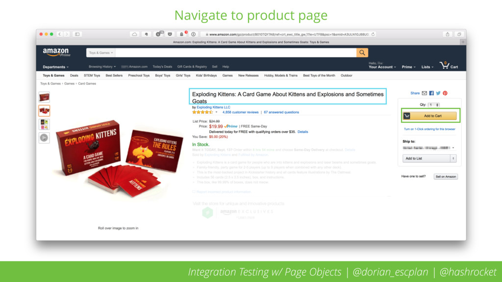 Navigate to product page Integration Testing w/...