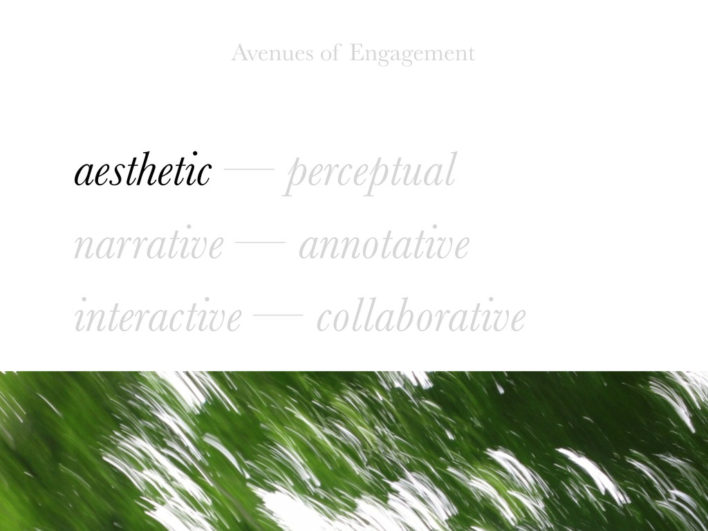 aesthetic — perceptual narrative — annotative i...
