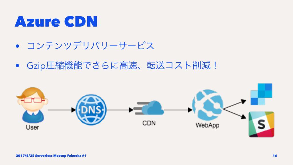 Azure CDN • ίϯςϯπσϦόϦʔαʔϏε • GzipѹॖػͰ͞Βʹߴɺసૹί...