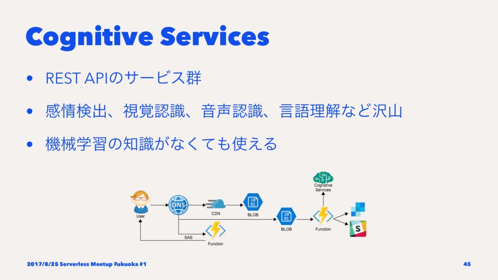 Cognitive Services • REST APIͷαʔϏε܈ • ײݕग़ɺࢹ֮ࣝ...