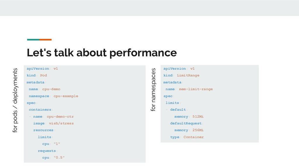 Let's talk about performance apiVersion: v1 kin...