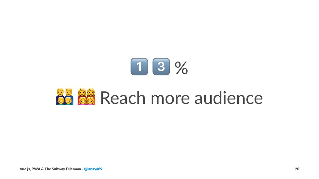 """! """" % ! """" Reach more audience Vue.js, PWA & The..."""