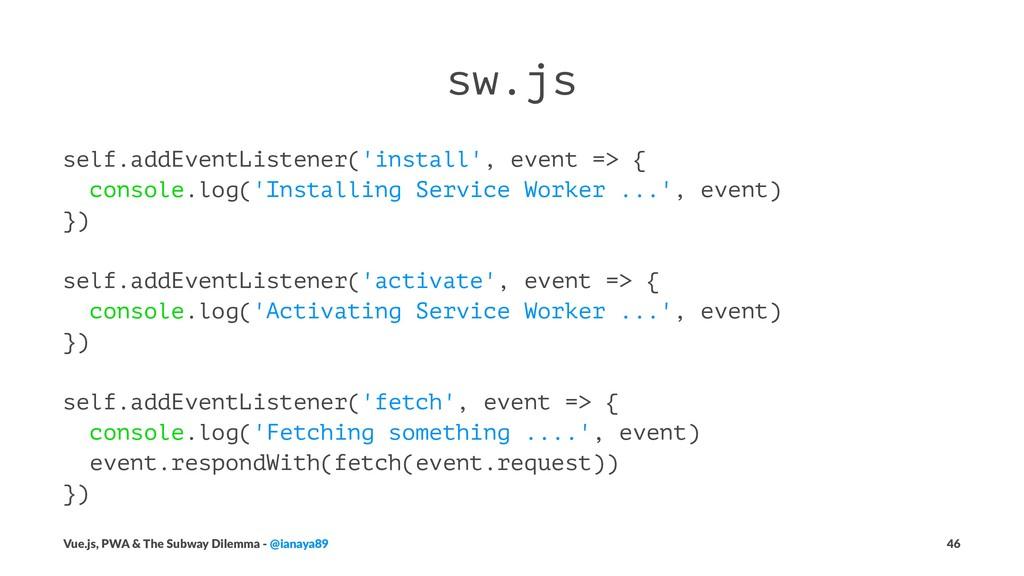 sw.js self.addEventListener('install', event =>...