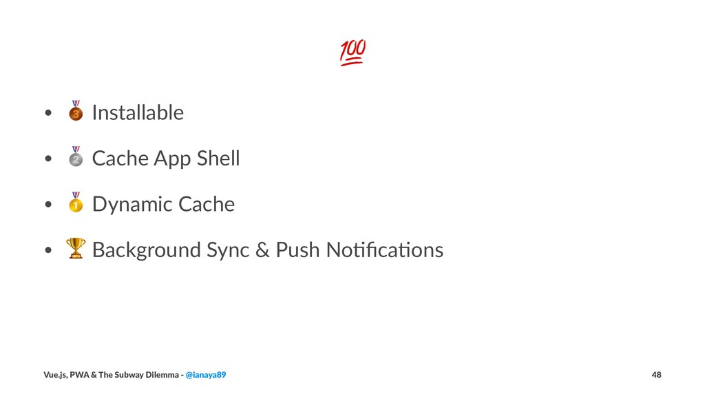 """! • ! Installable • """" Cache App Shell • # Dynam..."""