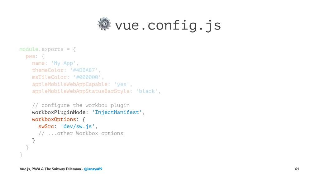⚙ vue.config.js module.exports = { pwa: { name:...