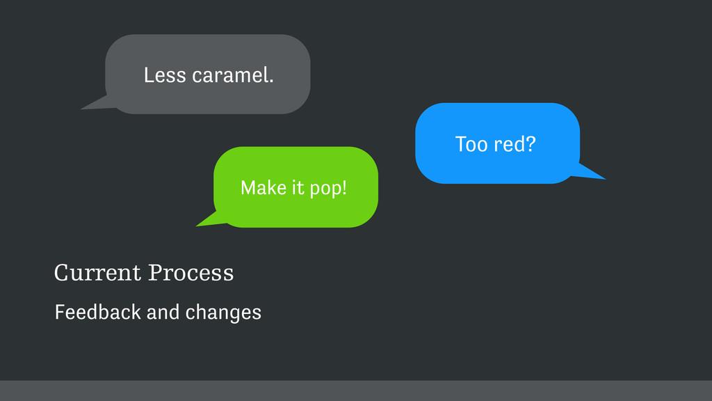 Too red? a Less caramel. a Make it pop! Current...